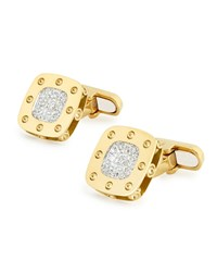 Pois Moi 18K Yellow Gold Square Diamond Cuff Links Roberto Coin