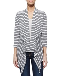 Neiman Marcus Striped Peplum Draped Cardigan Gray White