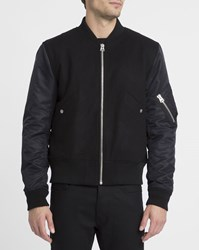 Sandro Navy And Black Battle Ribbed Collar Bomber Jacket Blue