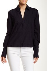 Free People Ready Or Not Linen Blend Blouse Black