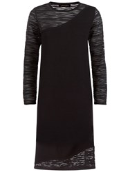 Jaeger Lace Panel Knitted Dress Black