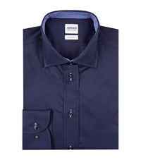Armani Collezioni Slim Stretch Cotton Shirt Male Navy