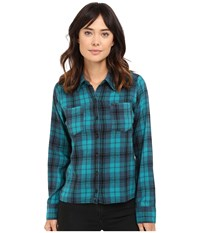 Hurley Wilson Long Sleeve Button Up Rio Teal W Women's Long Sleeve Button Up Green