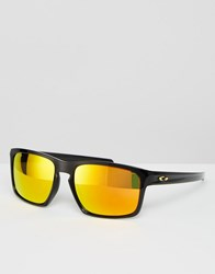 Oakley Square Sliver Sunglasses With Yellow Flash Lens By Valentino Rossi Black