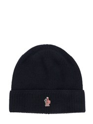 Moncler Logo Patch Wool Beanie Hat