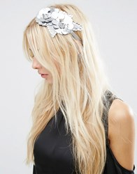 Asos Embellished Flower Headband Fascinator Silver