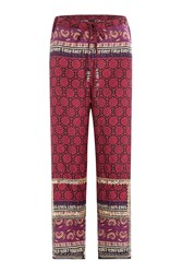 Anna Sui Silk Cotton Woodblock Mixed Print Pants Multicolor
