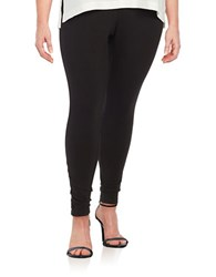 Lord And Taylor Plus Stretch Cotton Leggings Black