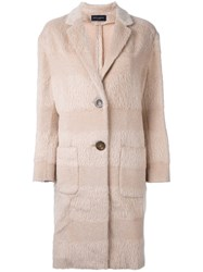 Piazza Sempione Striped Button Down Coat Nude And Neutrals