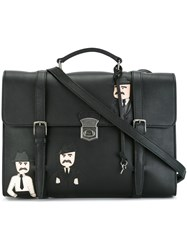 Dolce And Gabbana Sicilian Men Patch Messenger Bag Black