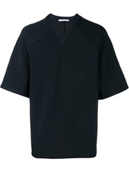 Givenchy Over Sized Pinstriped Top Blue