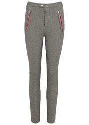 Isabel Marant Liny Checked Skinny Wool Trousers Black And White