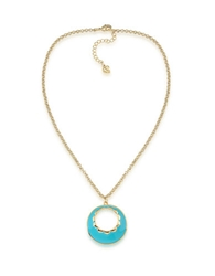 Carolee Tropical Bloom Round Pendant Necklace