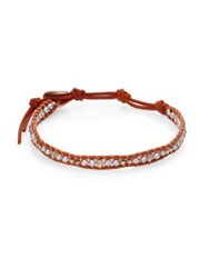 Chan Luu 3Mm Cultured Freshwater Pearl And Leather Single Strand Bracelet Brown Grey
