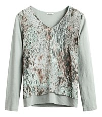 Sandwich Layered Abstract Print Top Green