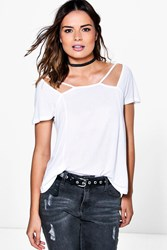 Boohoo Cut Out Neck Strappy T Shirt White