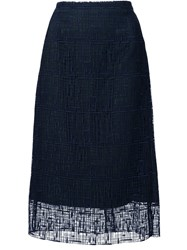 Grey Jason Wu Embroidered Overlay A Line Skirt Blue