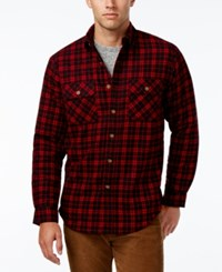 Club Room Men's Big And Tall Red River Plaid Shirt Jacket Only At Macy's