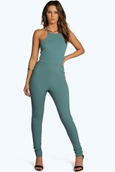 Boohoo Textured Crepe Strappy Jumpsuit Teal