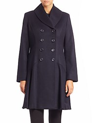 Sofia Cashmere Wool And Double Breasted Princess Coat Navy
