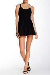French Connection Marina Plains Double Layer Playsuit Black