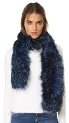 Jocelyn Silver Fox Infinity Muffler Scarf Royal