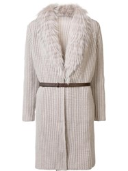 Fabiana Filippi Fur Collar Cardi Coat Nude Neutrals