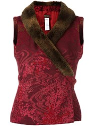 Kenzo Vintage Faux Fur Collar Jacquard Waistcoat Red