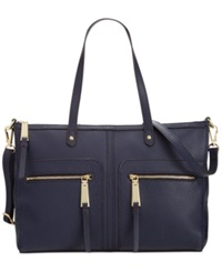 Tommy Hilfiger T Group Pebble Leather Convertible Satchel Navy