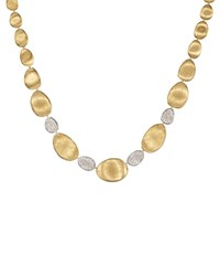 Marco Bicego Diamond Lunaria Graduated Collar Necklace In 18K Gold 17.25 White Gold