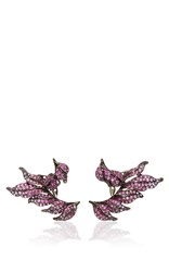 Wendy Yue Pink Sapphire And Amethyst Leaf Earrings Red