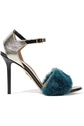 Charlotte Olympia Capella Shearling And Metallic Textured Leather Sandals Petrol
