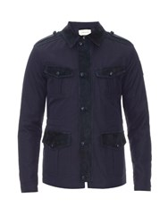 Gucci Suede Trim Gabardine Safari Jacket Navy