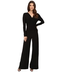 Norma Kamali V Neck Long Sleeve Shirred Waist Jumpsuit Black Women's Jumpsuit And Rompers One Piece