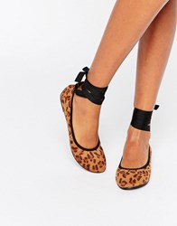 London Rebel Tie Up Ballerina Leopard Multi