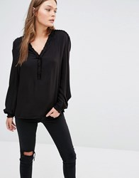 See U Soon Shirt With Raw Edges And Lace Up Shoulder Detail Black