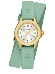 Michele Cape Mini Green Topaz Goldtone Stainless Steel And Silicone Double Wrap Strap Watch Green Green Gold
