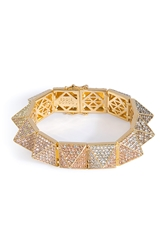 Eddie Borgo Gold Plated Pyramid Bracelet With Crystal Embellishment