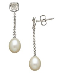 Lord And Taylor Sterling Silver Freshwater Pearl Diamond Drop Earrings Pearl Silver