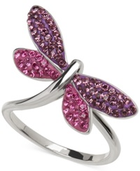 Kaleidoscope Purple And Pink Swarovski Crystal Dragonfly Ring In Sterling Silver