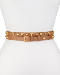 Haute Hippie Long And Winding Road Belt With Longhorn And Round Studs Suntan Matte Gold
