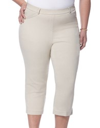 Rafaella Plus Plus Power Stretch Skinny Capri Leggings Stone
