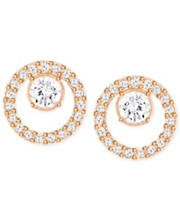 Swarovski Pave Circle And Crystal Stud Earrings Silver