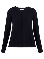 Whistles Boiled Wool Trapeze Cardigan Navy