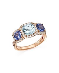 Bloomingdale's Tanzanite Aquamarine And Diamond Three Stone Ring In 14K Rose Gold Rose Blue