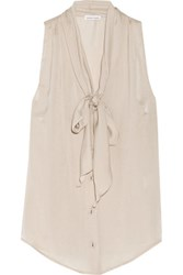 Tomas Maier Pussy Bow Washed Satin Top Beige