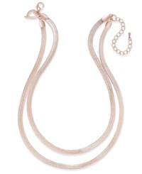 Thalia Sodi Herringbone Double Chain Necklace Only At Macy's Rose Gold