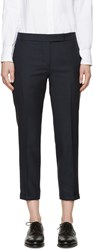Thom Browne Navy Wool Low Rise Trousers