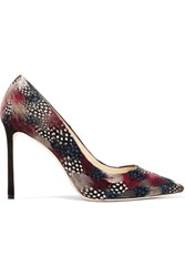 Jimmy Choo Romy Feather Embellished Suede Pumps Burgundy