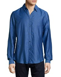 Versace Men's Printed Dress Shirt Blue